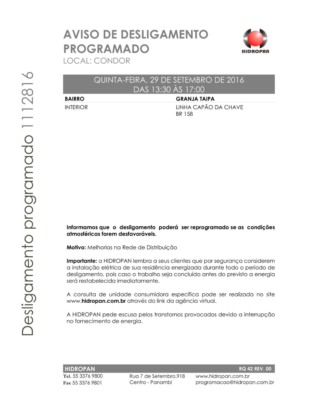 AVISO DE DESLIGAMENTO PROGRAMADO PROCESSO 1112816