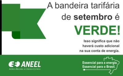 A bandeira tarifária de setembro é verde