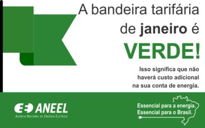 A bandeira tarifária de Janeiro é verde